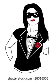 stylized vector illustration of a girl wearing a tuxedo print shirt