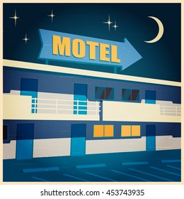 Stylized vector illustration of the hotel at night. Old poster
