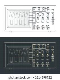 Stylized vector illustration of laboratory oscilloscope drawings