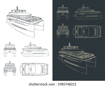 Stylized vector illustration of large catamaran isometric drawings