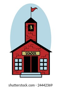 stylized vector illustration of a little red school house