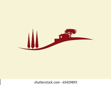 stylized vector illustration of a mediterranean landscape with holiday home with cypress trees