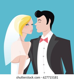 A stylized vector illustration of a modern bride and her handsome groom. The wedding couple is on a blue background.