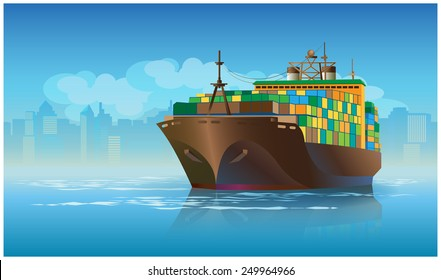 Stylized vector illustration on the theme of marine transportation. large cargo ship leaving the harbor with cargo