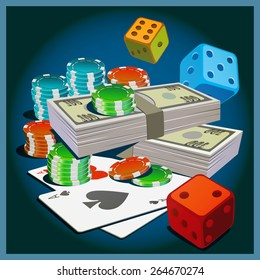 Stylized vector illustration on the theme of gambling, money, wealth, fortune.