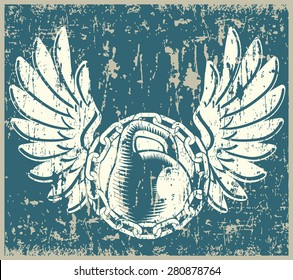 Stylized vector illustration on the theme of iron sport strong people, weightlifting old school, grunge, vintage.