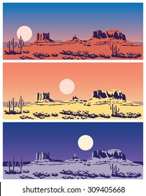 Stylized vector illustration on the theme of the Wild West, the great canyon, mountains and deserts. seamless horizontally if needed