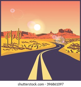 stylized vector illustration on the theme of travels and trip. Desert road.