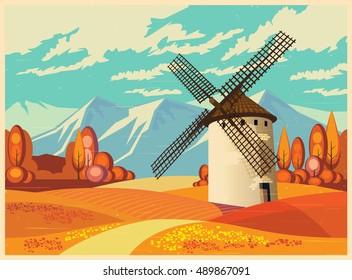 Stylized vector illustration on the theme of European landscapes in autumn old poster style. Windmills, fields of Provence, the Alps, etc. seamless horizontally, if necessary.