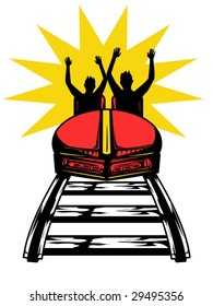 stylized vector illustration of people on a roller coaster