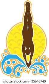 A stylized vector illustration of a person diving into the water