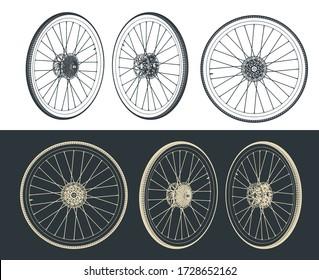 Stylized vector illustration of road bike wheel drawings