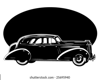 stylized vector illustration of a vintage automobile