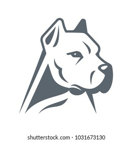 Stylized vector illustration of a white Dogo Argentino head.