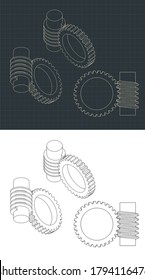 Stylized vector illustration of Worm Gear Drawings