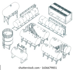 Stylized vector illustrations of Set of different storage tanks