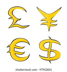 Stylized vector images of different currencies