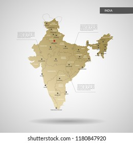 Stylized vector India map.  Infographic 3d gold map illustration with cities, borders, capital, administrative divisions and pointer marks, shadow; gradient background.