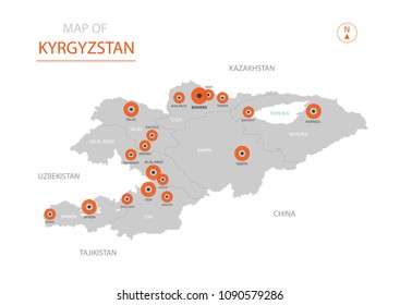 Stylized vector Kyrgyzstan map showing big cities, capital Bishkek,  administrative divisions.