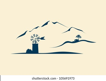 stylized vector landscape of Majorca with typical windmill in the plain and mountains in the background