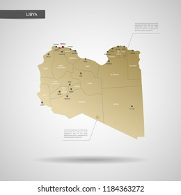 Stylized vector Libya map.  Infographic 3d gold map illustration with cities, borders, capital, administrative divisions and pointer marks, shadow; gradient background.
