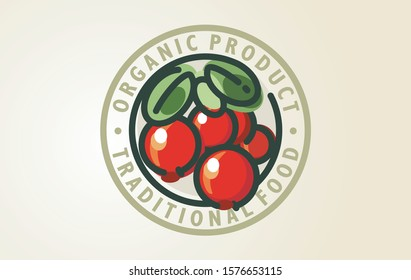 Stylized vector logo design cranberry forest food. Naturally healthy symbol. Dogwood graphic sign organic forest fruit. Organic berry fruits or juice sign.