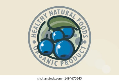 Stylized vector logo design of healthy blueberry forest food. Naturally healthy self-sown organic cornelian cherry symbol. Dogwood graphic sign organic forest fruitage. Organic berry fruits or juice.