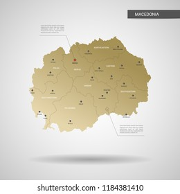 Stylized vector Macedonia map.  Infographic 3d gold map illustration with cities, borders, capital, administrative divisions and pointer marks, shadow; gradient background.