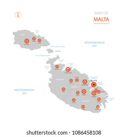 Stylized vector Malta map showing big cities, capital Valletta,  administrative divisions.