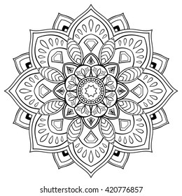 Stylized vector mandala. Ornament for coloring books.