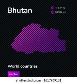 Stylized vector map of Bhutan in blue and green colors