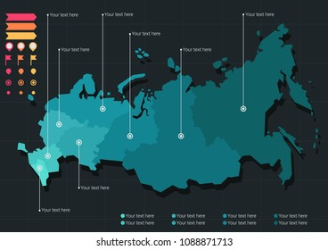 Stylized vector map of Russia in teal colors on dark background including a set of icons.