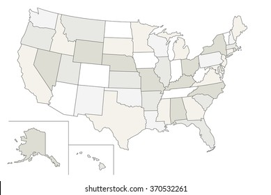 Stylized vector map of the United States. Each state can be selected individually