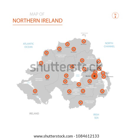 Map Of Northern Ireland Cities.Stylized Vector Northern Ireland Map Showing Stock Vector Royalty
