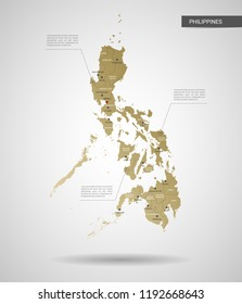 Stylized vector Philippines map.  Infographic 3d gold map illustration with cities, borders, capital, administrative divisions and pointer marks, shadow; gradient background.