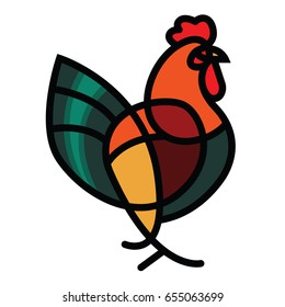 Stylized vector rooster - totem mascot tattoo design for t-shirt bag postcard poster and so on.