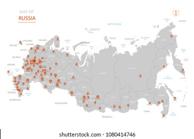 Stylized vector Russia map showing big cities, capital Moscow,  administrative divisions.