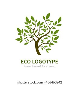 Stylized vector simple tree logo. Vector tree logotype for gardening and environment concepts. Eco logo