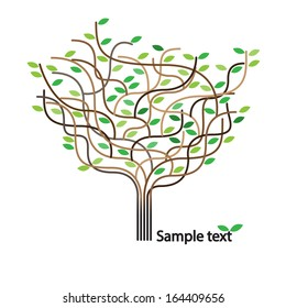 Stylized vector tree and icon