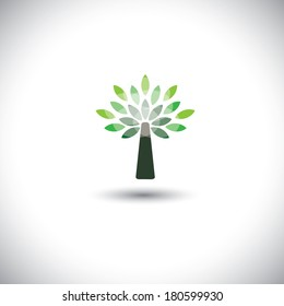 stylized vector tree icon with green leaves - eco concept vector. This graphic also represents pristine environment, evergreen forests, growing shrub, young tree, etc