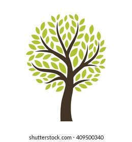 Stylized vector tree isolated on white background. Perfect for logotype. Vector illustration