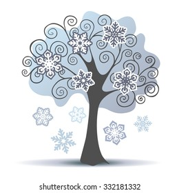 Stylized vector winter tree with some snowflakes. Vector illustration