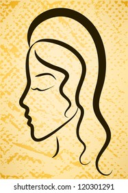 Stylized vector woman's profile on grunge background