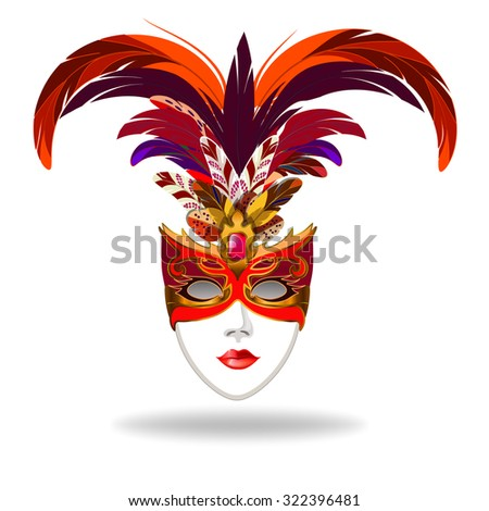 Stylized Venetian Carnival Mask Ladies Gold Stock Vektorgrafik