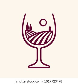 Stylized vineyard landscape in wine glass shape, vector illustration. Modern monochrome winery logo.