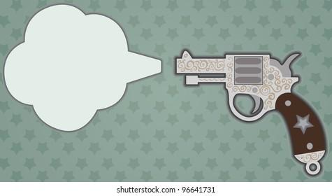 Stylized vintage gun when a shot. vector