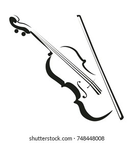 Stylized violin icon logo vector.