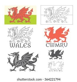 Stylized Welsh flag (Cymru is 'Wales' in Welsh)