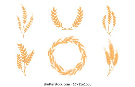 Stylized Wheat Head or Spikes Isolated on White Background Vector Set