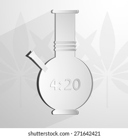 stylized white bong with an inscription 4 20. Vector background Eps 10